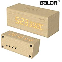 BALDR Design LED REAL WOOD Alarm Clock, Wooden Digital Alarm Clock with Battery Back Up, Dimmable Touch Snooze Temperature Calendar Display, Digital Alarm Clocks with wall plug