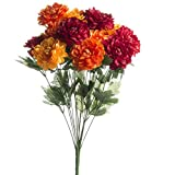 Brightly Colored Artificial Zinnia Floral Bush for Arranging, Crafting and Embellishing