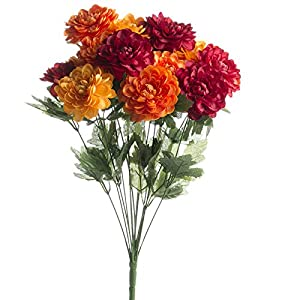 Hanken Brightly Colored Artificial Zinnia Floral Bush for Arranging, Crafting and Embellishing 4