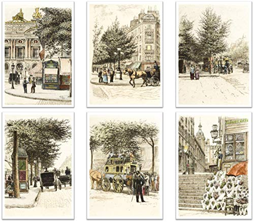 Ramini Brands Paris Streets Living Room Bedroom Office Decor Prints - Set of 6 8 x 10 Unframed Prints - Paris Streets - Great Gift for Travelers and French Teachers