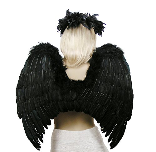 FashionWings (TM Black Fallen Angel Costume Feather Wings Halo Mask ()