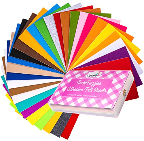 Assorted Adhesive Felt Fabric Set: 30 Unique Sheets 8x12 inch (20x30cm) with Handy Storage Container Case; DIY Crafts, Sewing, Decorative Projects