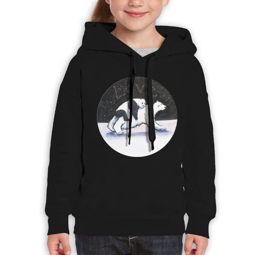 Qiop Nee Comical Panda and Bear Unisex Hoodie Print Long Sleeve Sweatshirt for Girls'