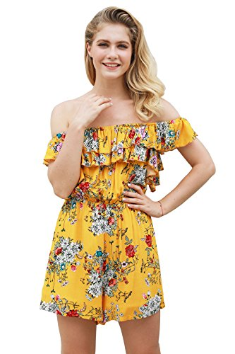 Yellow Floral Romper - MIOMI Womens Summer Sexy Floral Printed Off Shoulder Ruffled Popover Bodice Romper Short Jumpsuits (Yellow, Medium)