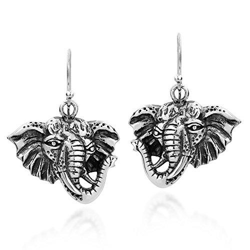 Safari Elephant Head Dangle .925 Sterling Silver Earrings -