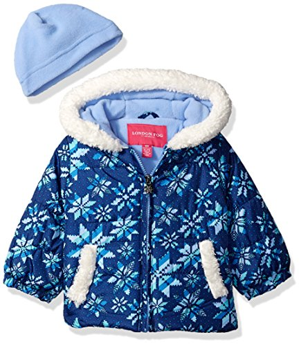 297e95619 Galleon - London Fog Baby Girls Puffer Jacket With Scarf & Hat, Fair Isle  Navy, 18MO
