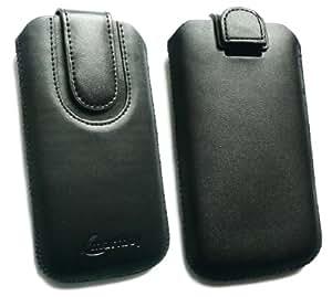 Emartbuy® Value Pack para Nokia Lumia 630 Negro / Negro Premium Cuero PU Funda Carcasa Case Tipo bolsa (Talla 3XL) con Mecanismo de Pestaña para Estirar + Compatible Micro USB Cargador de Coche + Pellicola Protettiva