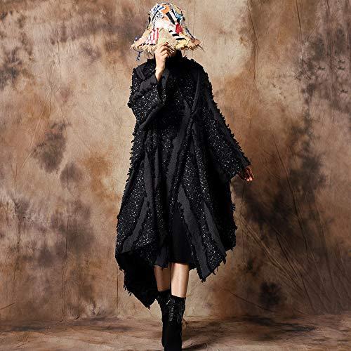 Chaud Fourrure Pour Manteau Fausse Poncho Du D'hiver Cape Liulife En vent Design Au Black Coupe Femmes Irrégulier Cap xX4UzwqIw