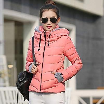ZEFOTIM Women Thick Outerwear Hooded Coat Short Slim Cotton-Padded Jackets Coats