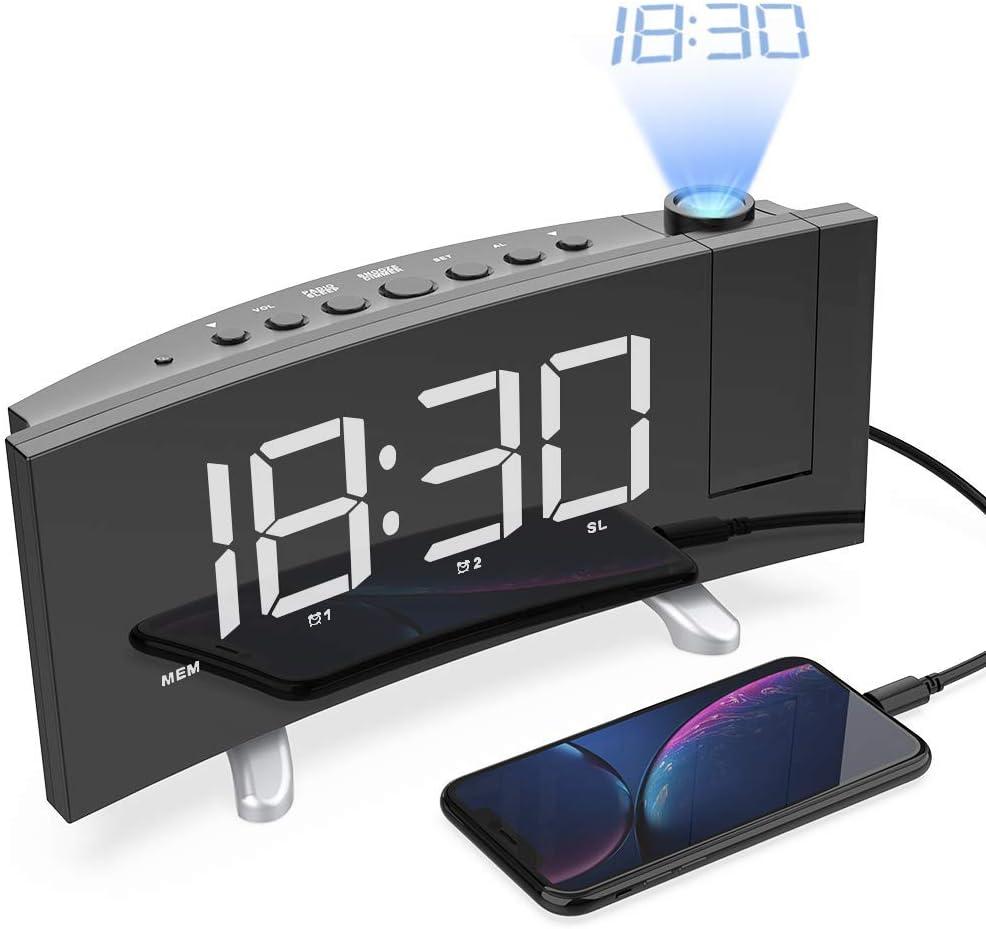Radio Despertador Digital Proyector, FM Radio Reloj Despertador ...