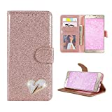 Mistars for Galaxy A5 2017 Wallet Case, Luxury Bling Glitter PU Leather Flip Case with Diamond Love Heart Design Magnetic Closure Stand Function Card Holder and Soft TPU Back Cover Protective Shell for Samsung Galaxy A5 (2017) - Rose Gold