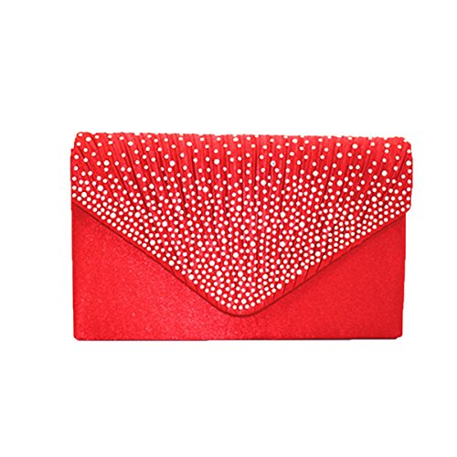 Satinado Brillante Rhinestone Boda Bolso De Tarde Embrague Monedero Multicolor Red1