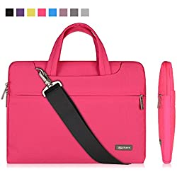 """Qishare 11.6"""" 12"""" Pink Multi-functional Business Briefcase Sleeve/Messenger Case with Handle and Carrying Strap for Acer Asus Dell Fujitsu Lenovo Hp Samsung Sony (Pink, 11.6-12'')"""