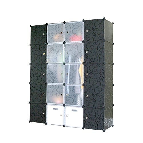 UNICOO - Multi Use DIY Plastic 20 Cube Organizer, Bookcase, Storage Cabinet, Wardrobe Closet Black with Black + White Door (Deeper Cube) by UNICOO