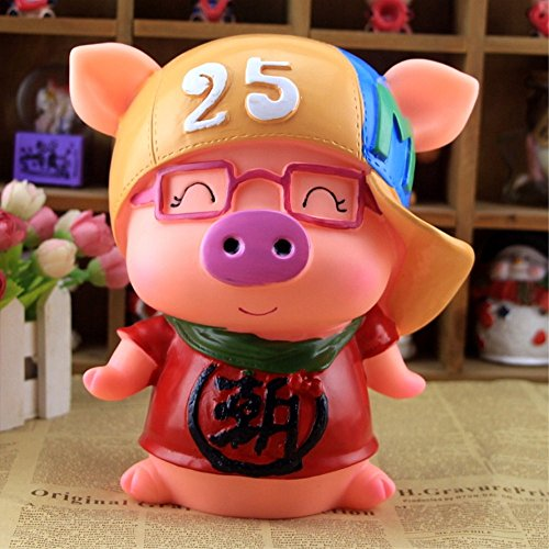 Kawaii Cute Pig Piggy Bank Resin Personalized Baby Nursery Decor Home Furnishing decoration Wear glasses Trendsetter by GH8