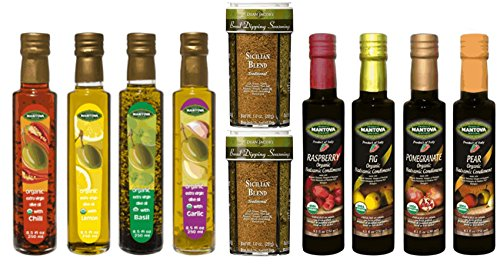 Collection Mantova (Mantova Organic Olive Oil & Vinegar Collection with 2 Dean Jacob's Bread Dipping Seasoning Jars)