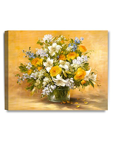 DECORARTS- Yellow Roses and Lilies, Giclee Print on 100% Cotton Canvas for Home Decor and Wall Decor 20x16