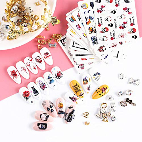 giokfine Nail Stickers, 2019 Halloween Ins Cute Pumpkin Bat Black Cat Nail Sticker Manicure Stickers