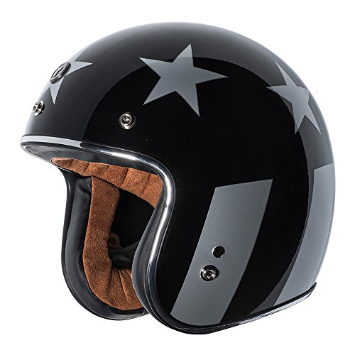 TORC Unisex-Adult Cruiser T-50 3/4 Retro Motorcycle Helmet With Graphic (Gloss Black Captain, X-LARGE)