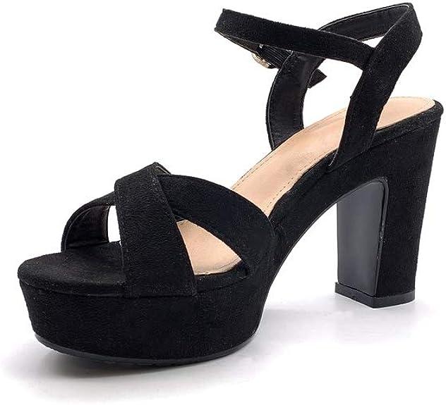 Sandalia negra Plataforma Tacón