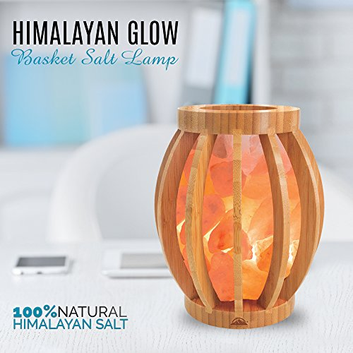 Himalayan Glow Bamboo Salt lamp, Handmade, Home decor, table lamp, dimmable, 8 inch by WBM