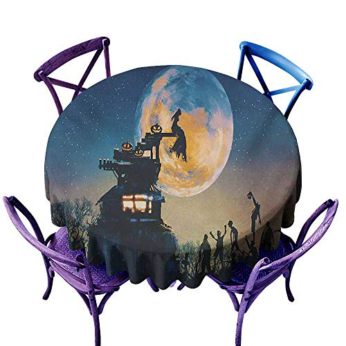 Stain Resistant Round Tablecloth,Fantasy World Dead Queen in Castle Zombies in Cemetery Love Affair Bridal Halloween Theme,Modern Minimalist,60 INCH,Blue -