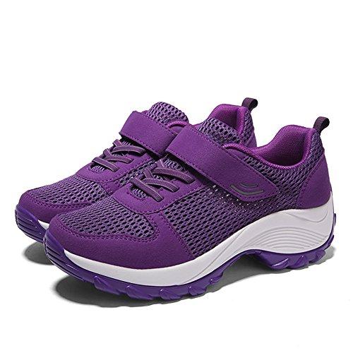42 Schuhe Atmungsaktiv Größe Fitnessschuhe Outdoor Damen Lee mit Mesh in Violett Klettverschluss Plateau Sportschuhe 35 Super Sommer zqPZO