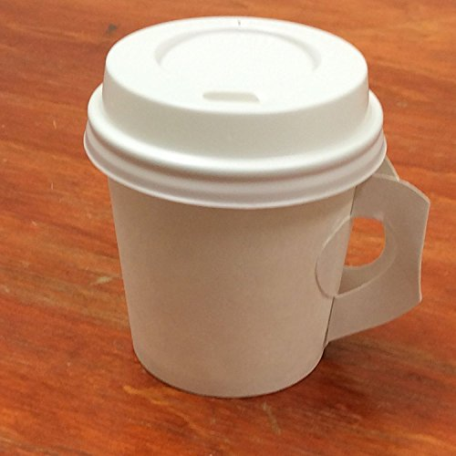 4 oz. White Paper Handle Cups with lid - 50 Sets