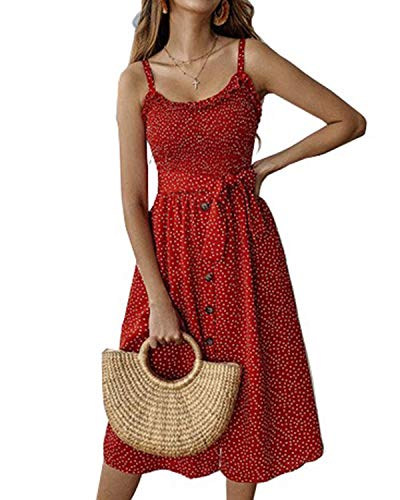 Kidsform Summer Midi Dresses for Women Sleeveless Boho dot Floral Dress Spaghetti Strap Swing A line Dress with Belt Pockets C Polka Dot Red Large ()