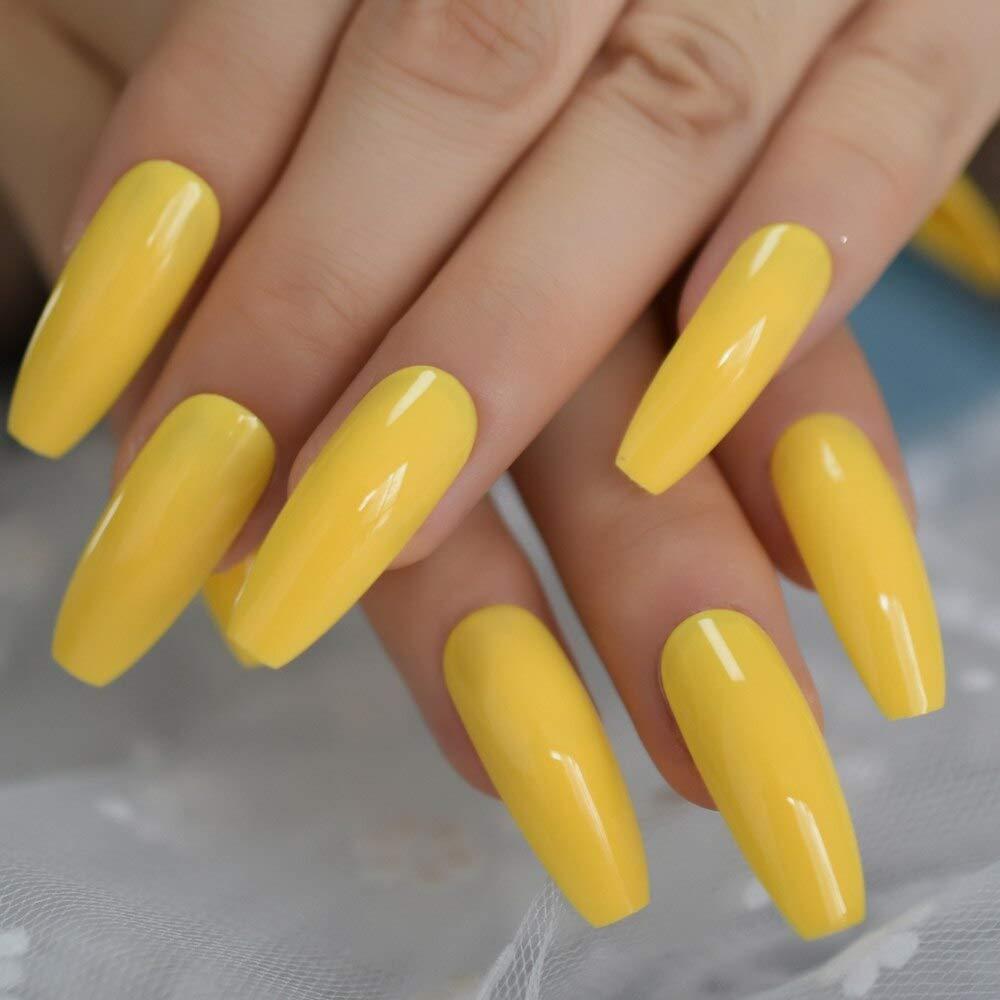 Amazon Com Yellow Long Coffin Press On Nails Long Ballerina False Nail Tips 20 Pcs Full Cover Acrylic Fake Nails 10 Sizes Ballerina Fake Nai Beauty