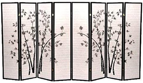 ZJL Bamboo Print Room Divider 4 and 8 Black 8