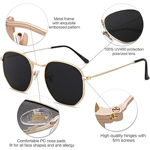 24e1daf887 SOJOS Small Square Polarized Sunglasses for Men and Women Polygon Mirrored  Lens SJ1072 with Gold Frame