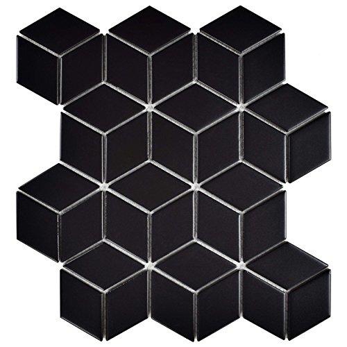 - SomerTile FMTRHOMB Retro Rhombus Porcelain Mosaic Floor and Wall Tile, 10.5