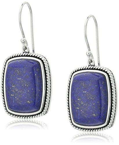 Lapis French Wire Earrings (Sterling Silver Lapis Rope Rectangle Drop Earrings)