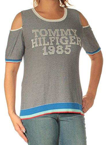 Tommy Hilfiger Graphic Cold-Shoulder Sweater (Ivory Stripe Multi, L)