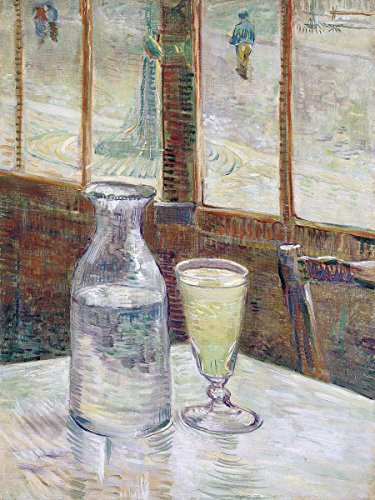 """Cafetafel met the brink still life bottle wineglass by Vincent van Gogh Accent Tile Mural Kitchen Bathroom Wall Backsplash Behind Stove Range Sink Splashback One Tile 6""""x8"""" Ceramic, Glossy"""
