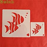 Star-Trade-Inc - Tropical Fish Plastic Cake Stencil for Cake Decoration Cappuccino Mousse Cookie Tools Wall Painting Template Mold 3 in or 6 in