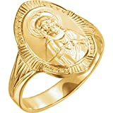 Roxx Fine Jewelry Sacred Heart of Jesus Ring 14K Yellow Gold 17.5mm R16639