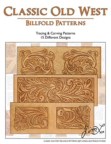 Billfold Pattern - Classic Old West Billfold Patterns - 15 Tracing & Carving Leather Patterns
