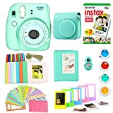 Fujifilm Instax Mini 9 Instant Print Camera Super Bundle with New Camera Case and Accessories , Photo Album, Photo Stickers, 10 Mini Frames and More (Mint Green)(Renewed)