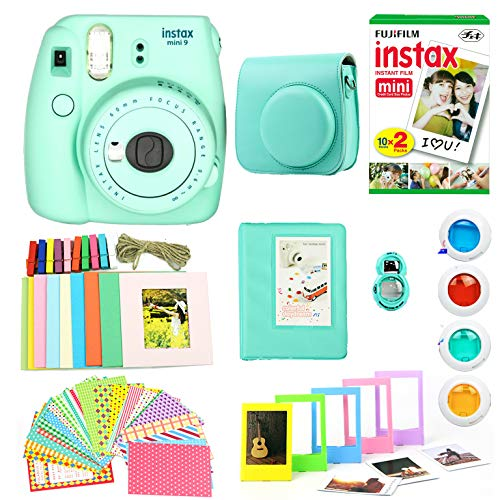 Fujifilm Instax Mini 9 Instant Print Camera (Certified Refurbished) Super Bundle with New Camera Case & Accessories | Photo Album, Photo Stickers, 10 Mini Frames & More (Mint Green)