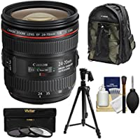 Canon EF 24-70mm f/4L IS USM Zoom Lens with 200EG Backpack + 3 UV/CPL/ND8 Filters + Tripod + Kit