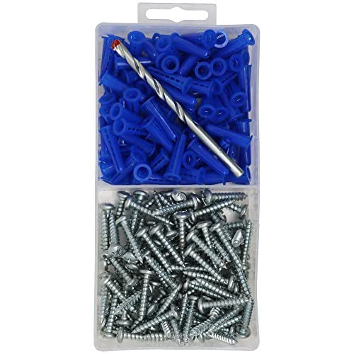 T.K.Excellent Blue Conical Plastic Anchor and Self Tapping Screw and Masonry Drill Bit,201 Pieces