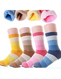 Kids Cotton Athletic Crew Socks Unisex Children Fashion Winter Socks (4-Pairs)