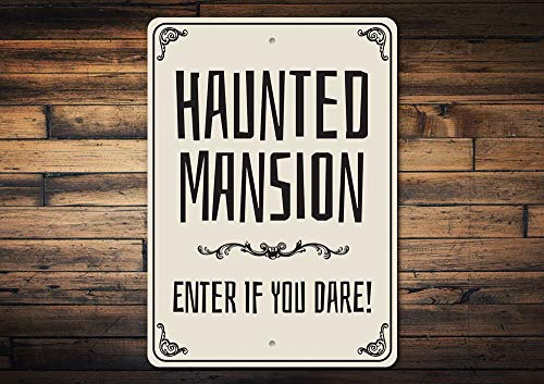 Wini2342ckey Enter If You Dare Haunted Mansions Spooky Mansion Halloween Sign Spooky Decor Metal Sign Quality Metal