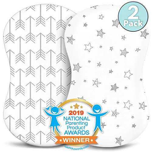 (Bassinet Sheets - Fitted, Premium Jersey Cotton - Baby Bedside Sleeper Cover - Universal Sheet Set for Rectangle, Oval, or Hourglass Bassinet Mattress - White 2 Pack for a Girl or Boy - Arrow Stars)