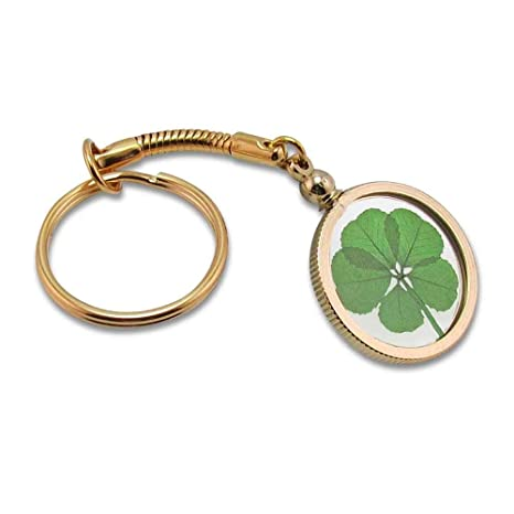 Gold Charm Keychain With Real Genuine Five Leaf Clover