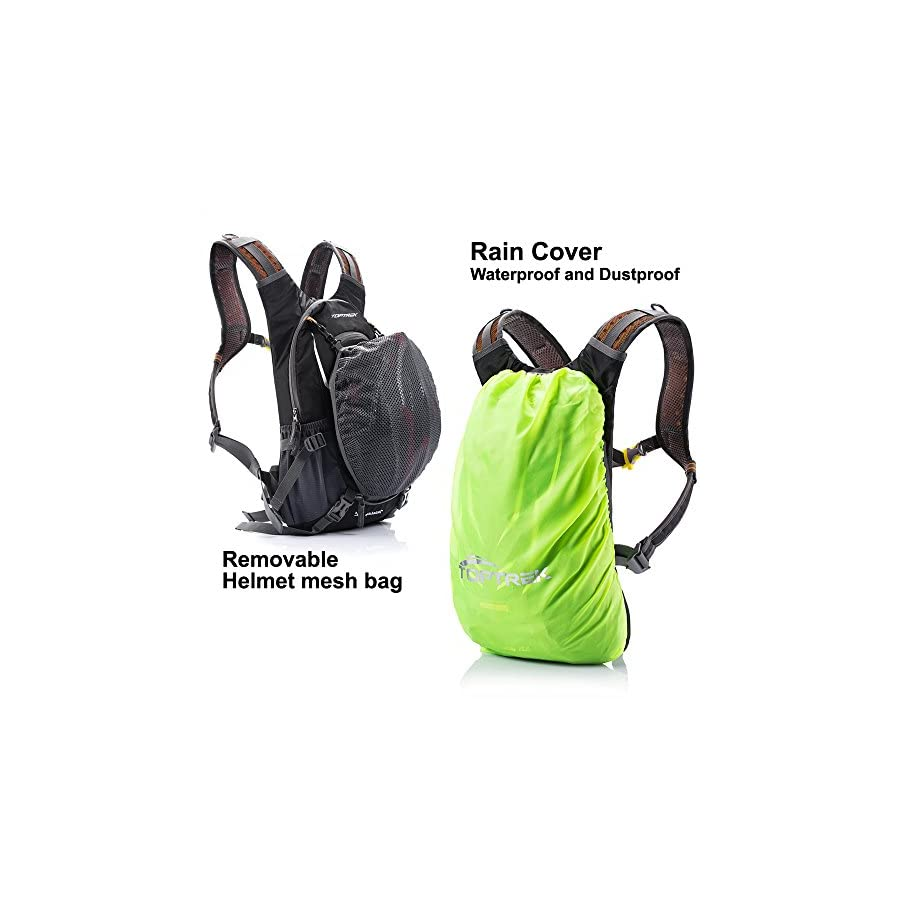 TOPTREK Cycling Backpack Waterproof Bike Pack for Men and Women Mountain/Road/Street Bike with Helmet Net and Rain Cover