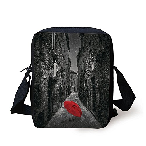 Umbrellas Ping Golf (iPrint Black White,Red Umbrella on a Dark Narrow Street in Tuscany Italy Rainy Winter Decorative,Grey Vermilion Print Kids Crossbody Messenger Bag Purse)