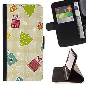 Regalo Papel Plaid Invierno Feliz- Modelo colorido cuero de la carpeta del tirón del caso cubierta piel Holster Funda protecció Para Apple iPhone 5 / iPhone 5S
